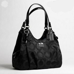 COACH Black Madison Op Art sateen Maggie purse
